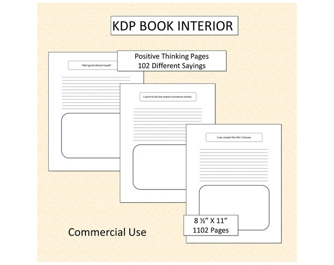KDP Interior Pages Positive Thinking Journal Pages Low Content Book Interiors Low Content Book Interior Print on Demand Page Commercial Use.