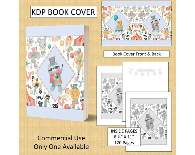Cute Circus Theme KDP Book Cover Kindle Cover Template KDP Cover Premade Book Covers Amazon KDP Book Cover Digital Book Cover Commercial Use