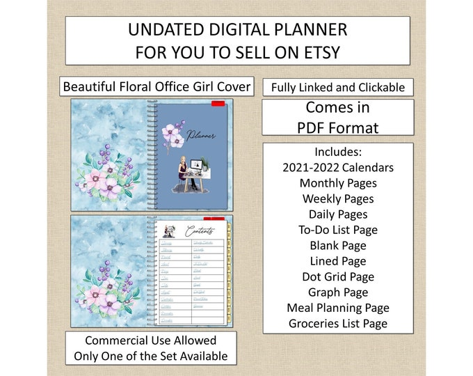 Undated Digital Planner Hper-linked Home and Office Clickable Landscape Format for Etsy Sellers Digital Notebook to Sell Commercial Use