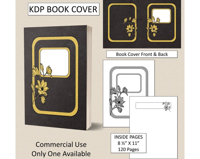 Classic Gold Black Velvet Floral Book Cover Design Premade KDP Book Cover Kindle Cover Template