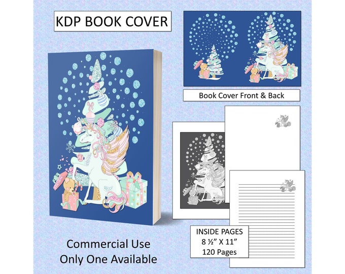 Christmas Unicorn Glitter Cover Design KDP Book Cover Kindle Cover Template KDP Cover Premade Book Covers Amazon KDP Book Covers