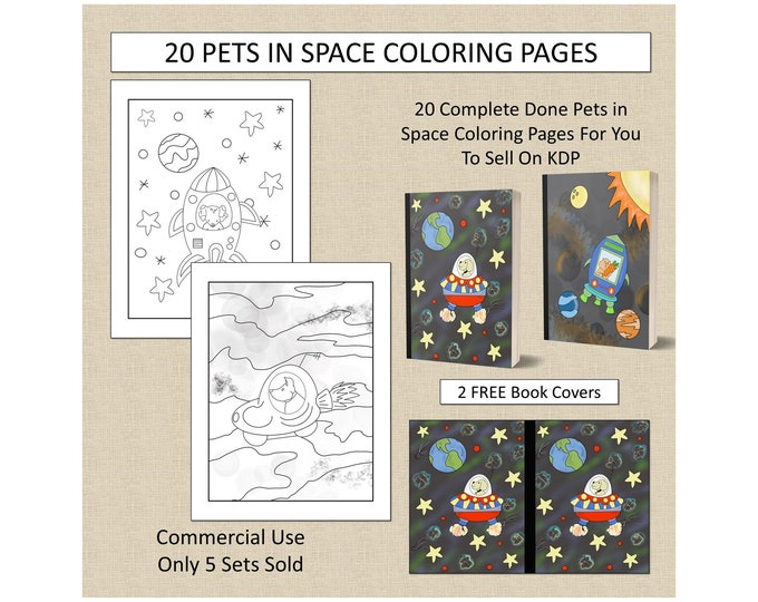 20 Pets in Space Coloring Pages For KDP Commercial Use Cute Animals in Outer Space Pages to Color For KDP
