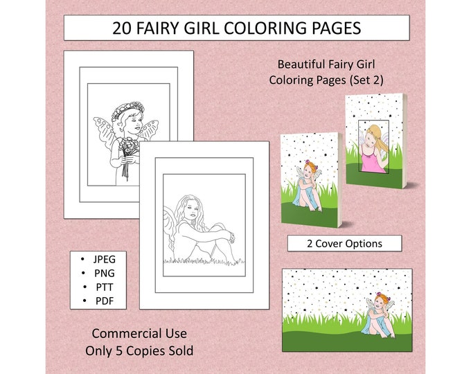 20 Fairy Girl Coloring Pages (Set 2) For KDP Commercial Use Fairies Coloring Pages