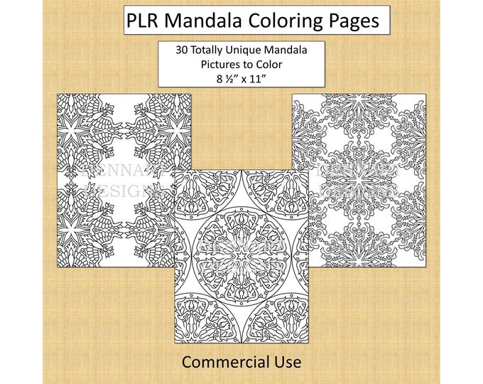 30 Mandala Coloring Pages With Full PLR Rights Private Label Rights Adult Coloring Pages Original Mandala Pattern Designs