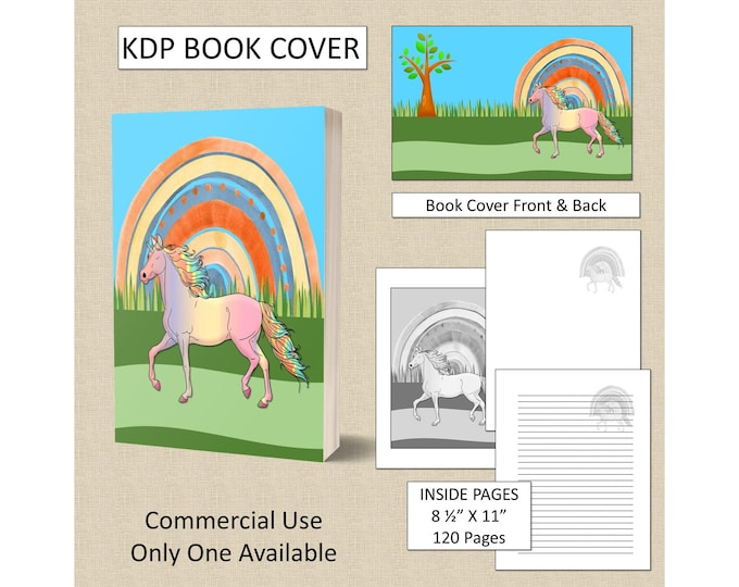 Unicorn Book Cover KDP Book Cover Kindle Cover Template KDP Cover Premade Book Covers Amazon KDP Book Covers Digital Book Cover