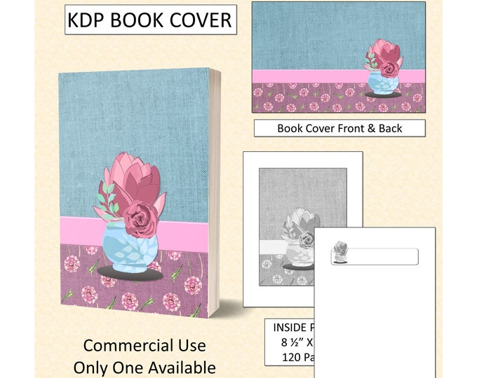 Cute Dusty Rose and Teal Cactus Theme Book Cover Design