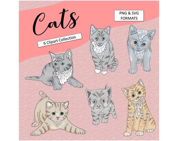 Cute Cats SVG Printable Cats Clipart Kids Graphics Kitten Elements Party Printable Cute Cats Decoration Commercial Use Instant Download
