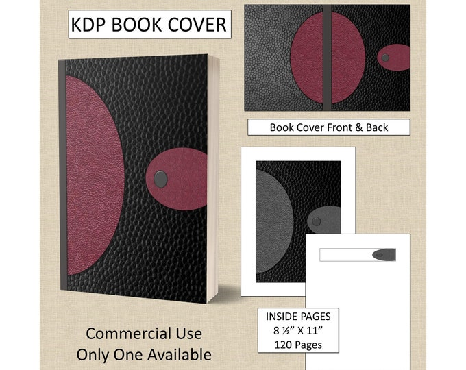 Black Burgundy Leather Cover KDP Book Cover Kindle Cover Template KDP Cover Premade Book Covers Amazon KDP Book Covers Digital Book Cover