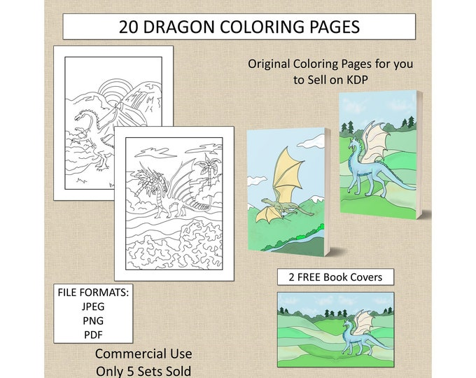 20 Dragon Coloring Pages For KDP Commercial Use Fantasy Dragon Coloring Pages