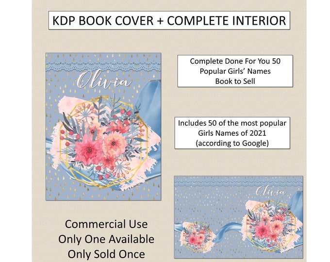 Complete Girls Names Journal Book Cover Design + Interior Premade Book Cover For KDP Publishers Amazon Book KDP Cover KDP Bundle