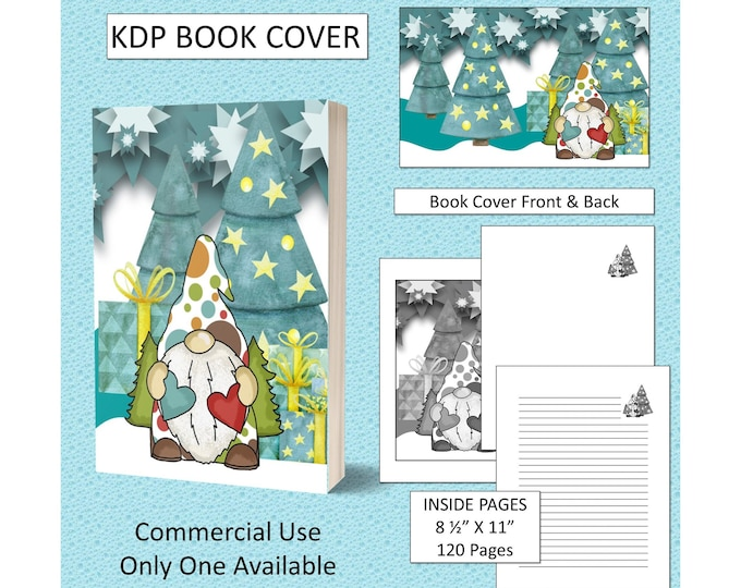 Christmas Gnome Cover Design KDP Book Cover Kindle Cover Template KDP Cover Premade Book Covers Amazon KDP Book Covers
