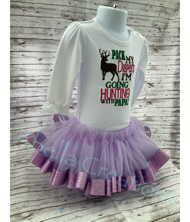 Brown Purple color Outfit Pink Pack My Diapers I\u2019m Going Hunting W Papa! Girls Tutu Outfit Lavender Tutu w Embroidered Shirt Green