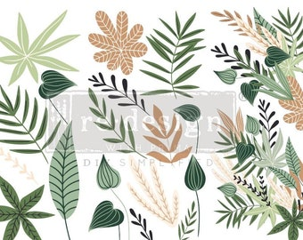 GREENERY HOUSE TRANSFER, Redesign with Prima, 3 sheets, 6″ X 12″ each, Green Leaves Transfer