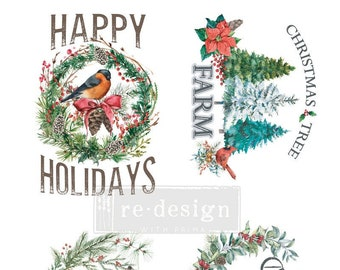 NEW! HOLLY JOLLY Xmas Transfer, Redesign with Prima, 24x35, Rub On Transfer, furniture decal, furniture transfer, Christmas Transfer