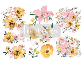 """Rub on Transfer, WATERCOLOR LUSH TRANSFER, Redesign with Prima, furniture decal, small transfers, 3 sheets, 6""""x12"""" each, furniture transfer"""