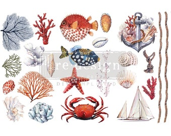 """AMAZING SEA LIFE Transfer, Redesign with Prima, 3 Sheets, 6""""X12 each, Rub on Transfer, Furniture transfer, Fish, Coral, Crab Decal"""