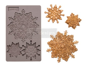 """SNOWFLAKE JEWELS MOULD, Christmas Mold, Snowflake Mold, Redesign with Prima, Silicone Food Safe, 5""""x8""""x8mm, Chocolate, Resin, Clay Mold"""