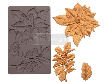 """PERFECT POINSETTIA MOLD, Christmas Mold, Holly Mold, Poinsettia Mold, Redesign with Prima, Food Safe, 5""""x8""""x8mm, Chocolate, Resin, Clay Mold"""