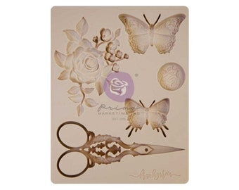 """SCISSORS Mold, Frank Garcia MY SWEET Mold, Prima Marketing, Food Safe Silicone Mould, 3.5""""×4.5"""",  Butterfly Mold, Scissors Applique"""