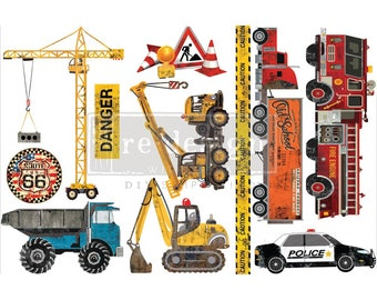 UNDER CONSTRUCTION TRANSFER, Redesign with Prima, 3 sheets, 6″ X 12″ each, Fire Truck Transfer, Dump Truck Transfer, Police Car, Crane
