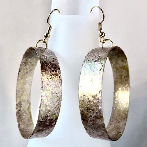 Large Gold and Rose gold hoop earrings made from recycled image 0