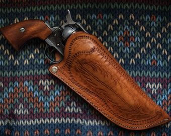 """BROWN Western LEATHER PISTOL HOLSTER Civil War for 8-9/"""" barrell Cavalry"""