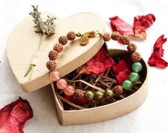Mala Bead Bracelet, Eco Friendly Heart Box, Hand-Written Letter, Rose Petals.