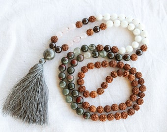 MOON CYCLE 108 Hand-Knotted Mala Bead Necklace. 10% Donation to end period inequality with every purchase.