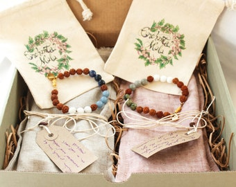 Unity Box - ATMA - Gift Box For Two With Crystal Mala Bracelets and Weighted Lavender Linen Eye Pillows