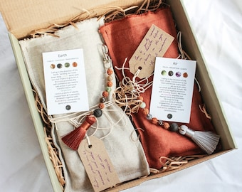Unity Box - DHARMA - Gift Box For Two With Crystal Mala Charms and Weighted Lavender Linen Eye Pillows