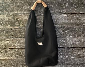 Long Strap Bag Handmade Hobo Bag Black Crochet Purse Large Bag Crocheted Black Hobo Bag Shoulder Bag Hobo Style Bag Gift For Friend