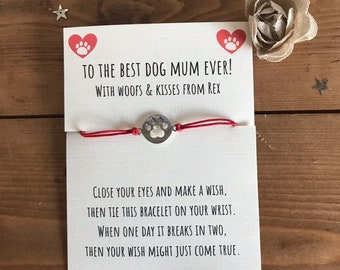 MOTHERS DAY GIFT FROM THE DOG BEST DOG MUM PAW CHARM BRACELET BIRTHDAY CARD bag