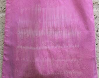 Naturally dyed pink cotton shopper bag shibori, tie dye, long handled