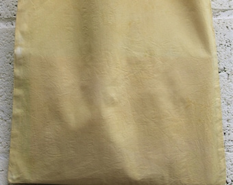 Naturally dyed yellow cotton shopper bag long handled