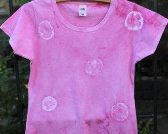 Naturally dyed cotton pink t-shirt shibori circles, tie dye size UK 10