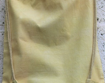 Sunny yellow Naturally dyed cotton drawstring soft duffle bag