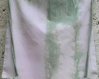 Green Naturally dyed cotton drawstring soft duffle bag shibori, tie dye