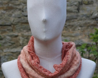 Digital Ripple cowl knitting pattern download for lace weight yarn