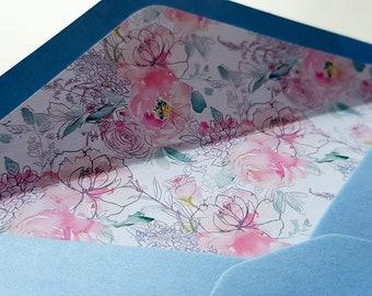 Light Blue Lined Envelopes  envelope liners  pale blue liners  Set of 10  Gift for men  Gift for women