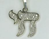 14K White Gold Round Cut Diamond Chai Symbol Pendant