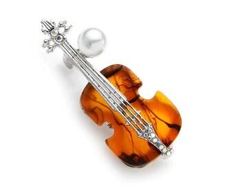 magnetic brooch model 605 handmade gift idea violin shaped brooch gray violin for music lovers Violin pin unique design brooch