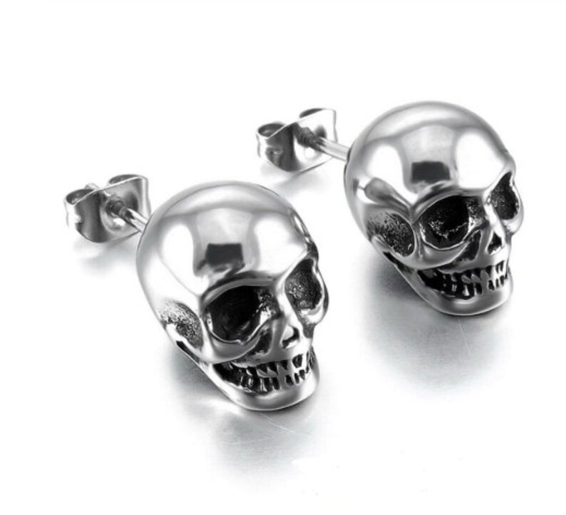 Skull Silver Stud Earrings image 0