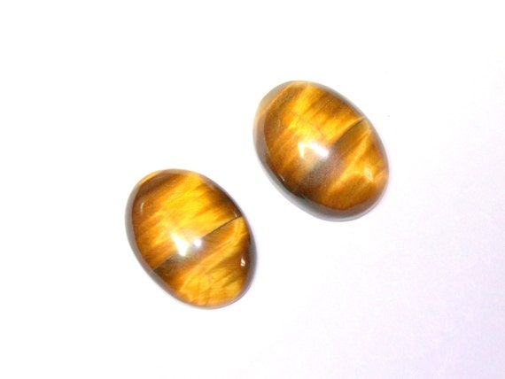 TIGER EYE 11 x 9 MM OVAL CUT CABOCHON 2 PIECE SET ALL NATURAL