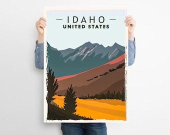 IDAHO ,  United States  ,  Minimalist Artwork Retro Vintage Travel Print Poster , Graphic Design