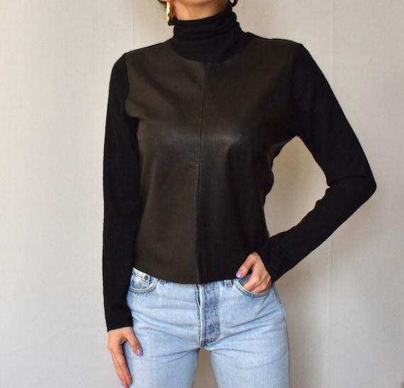 Vintage Brunello Cucinelli cashmere leather  blac… - image 3