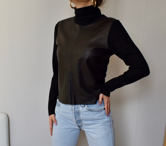 Vintage Brunello Cucinelli cashmere leather  blac… - image 2