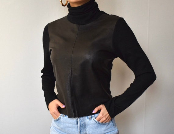 Vintage Brunello Cucinelli cashmere leather  blac… - image 4