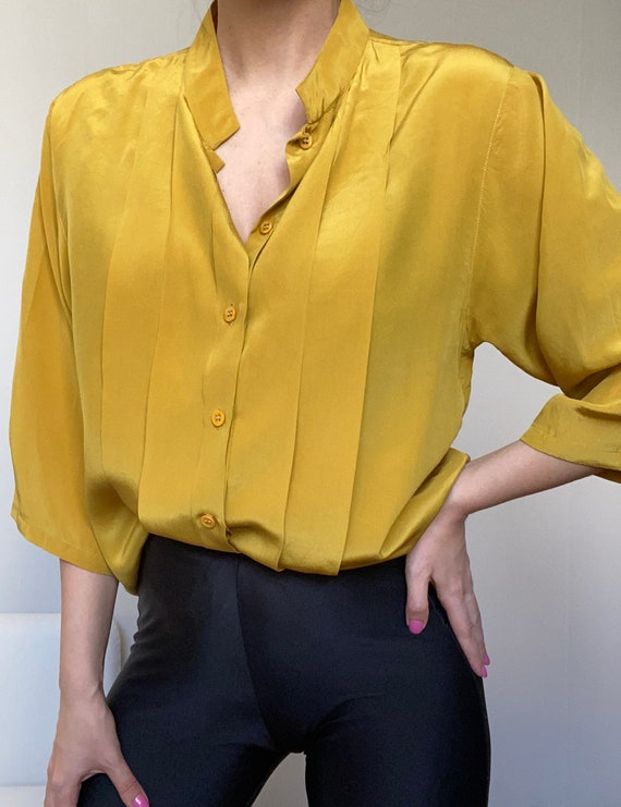 Vintage pleated silk shirt golden yellow