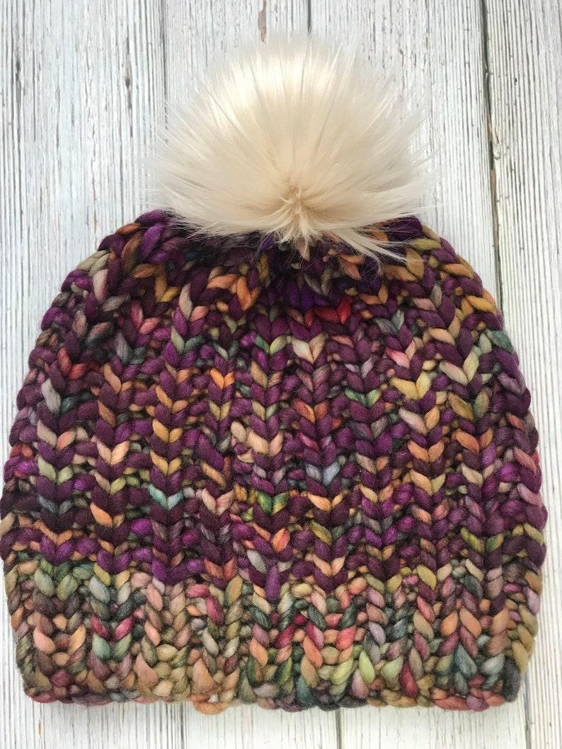 Merino Wool Hat With Faux Fur Pom Pom