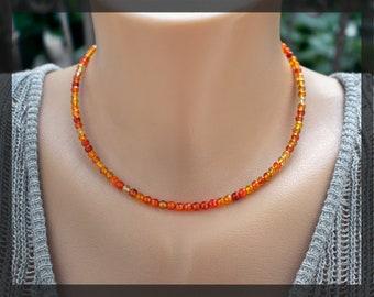 Carnelian choker adjustable beaded choker dainty carnelian necklace orange stone necklace beach necklace sacral chakra healing stone